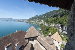 Lake Geneva seen from the Chillon Castle, Switzerland royalty free stock image
