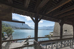 Lake Geneva seen from the Chillon Castle, Switzerland royalty free stock photos