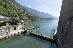 Lake Geneva seen from the Chillon Castle, Switzerland royalty free stock photo