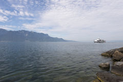 Lake Geneva seen from Vevey stock photography