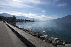Lake Geneva seen from Vevey royalty free stock image