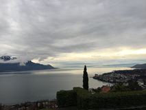Lake of Geneva Suisse. Montreux Zwitserland mountain clouds royalty free stock image