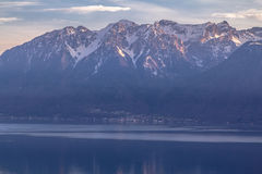 Lake Geneva at sunset. Overlooking Lake Geneva and the Alps at Lausanne, Switzerland Royalty Free Stock Images