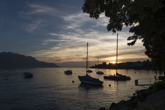 Lake Geneva at sunset Stock Photography