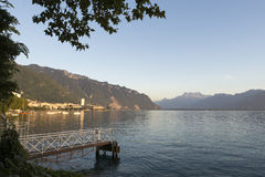 Lake Geneva at sunset Stock Photos