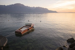 Lake Geneva at sunset Stock Photo