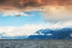 Lake Geneva in Swiss Alps, Switzerland. Lake Geneva in Swiss Alps, winter landscape at sunset, Switzerland royalty free stock photo