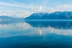 Lake Geneva, Vaud. Landscape with mountains and lake Geneva on a nice day royalty free stock photos
