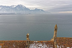 Lake Geneva View from Chillon Castle in Switzerland Royalty Free Stock Photo
