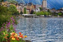 Lake Geneva and view of Montreux, Switzerland. A beautiful landscape with flowers, Lake Geneva and view of Montreux, Switzerland stock photography