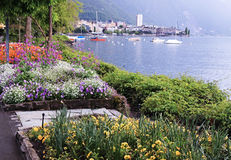 Lake Geneva and view of Montreux, Switzerland. Stock Photography