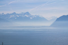 Lake Geneva. View over lake Leman (lake of Geneva Royalty Free Stock Images