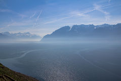 Lake Geneva. Vineyards of the Lavaux region over lake Leman (lake of Geneva Stock Photo