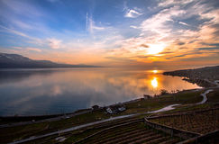 Lake Geneva. Vineyards of the Lavaux region over lake Leman (lake of Geneva Royalty Free Stock Images