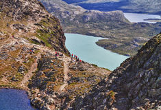 The lake Gjende in Norway. Start of the famous Bessegen hike in Jotunheim National Park, Norway stock photos