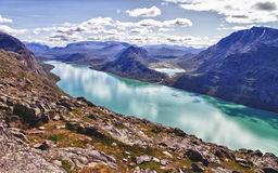 The lake Gjende in Norway. Start of the famous Bessegen hike in Jotunheim National Park, Norway royalty free stock photos