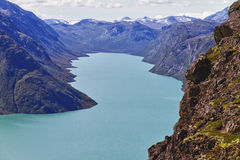 The lake Gjende in Norway. Start of the famous Bessegen hike in Jotunheim National Park, Norway stock images