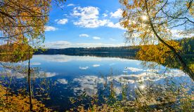 The lake in Belarus in the sunlight stock photo