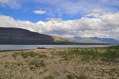 Lake Glubokoe on the Putorana plateau. Stock Photo
