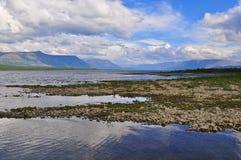 Lake Glubokoe on the Putorana plateau. Royalty Free Stock Images