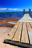 Lake Gogebic Landscape Michigan. Wooden dock and choppy waters of Lake Gogebic at Ontonagon County Park Michigan Royalty Free Stock Photography