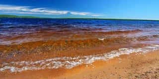 Lake Gogebic Panorama. Panoramic beach landscape of Lake Gogebic in northwoods Michigan royalty free stock photos
