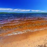 Lake Gogebic Summer Landscape. Summer beach landscape of Lake Gogebic in northwoods Michigan stock photo
