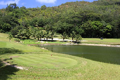 Lake on golf course at the Constance Lemuria Stock Photos