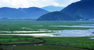 Lake, grassland and river landscape Stock Photography
