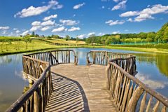 Lake in green nature wooden boardwalk Royalty Free Stock Photo