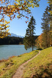 Lake grubsee, idyllic fishing lake near mittenwald Stock Photography