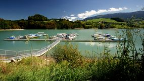 Lake Gruyere Marina Stock Photo