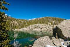 Lake Haiyaha, Rocky Mountains, Colorado, USA. Lake Haiyaha with rocks and mountains in snow around at autumn. Rocky Mountain National Park in Colorado, USA Royalty Free Stock Image