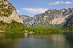 Lake Hallstatt, Austria. One of the most picturesque villages in Alps, located in Salzkammergut region stock photo