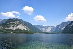Lake Hallstatt, Austria. Hallstatt is one of the Austria`s most beautiful Lake Towns. A view from town to the Lake Hallstatt royalty free stock photo