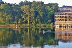 Lake Hamilton during sunrise. Ouachita River royalty free stock photos