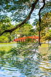 Lake in Hanoi. Vietnam with famous temple Royalty Free Stock Image
