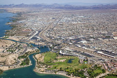 Lake Havasu, Arizona. With an aerial view of the city center and the London Bridge royalty free stock photography