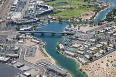 Lake Havasu, Arizona. With an aerial view of the city center and the London Bridge royalty free stock photos