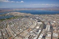 Lake Havasu, Arizona. With an aerial view of the city center, marina and the London Bridge stock photography