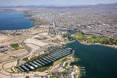 Lake Havasu, Arizona. With an aerial view of the marina and the London Bridge stock images