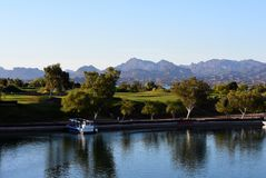 Lake Havasu City channel and golf course stock images