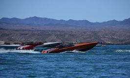 Lake Havasu City, Desert Storm Powerboat Weekend. Lake Havasu City, USA, 4/22/2018. Desert Storm Powerboat Weekend Four power boats get ready to start the poker stock photography