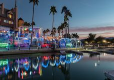 Lake Havasu City in party mode. Waterfront in colorful lighting, Lake Havasu City, Arizona stock photo