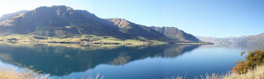 Lake Hawea, New Zealand. Panorama picture of Lake Hawea, New Zealand stock photo