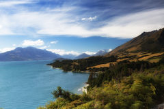 The Lake Hawea is one of the biggest and most popular lakes. In New Zealand stock images