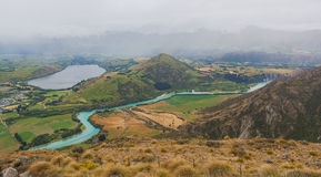 Lake Hayes and Kawarau river viewed from the Remarkables ski are Stock Photo