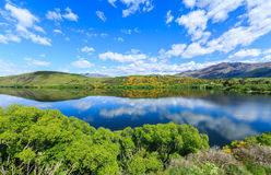 Lake Hayes. Loke Hayes located in Otago Region, Queenstown, South Island, New Zealand. This shot taking in summer showing its reflection of the Lake and vibrant Stock Photo