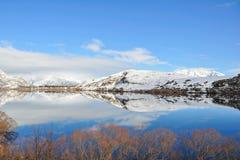 Lake Hayes med snowbergreflexioner Arkivfoto