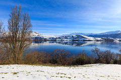 Lake Hayes Queenstown New Zealand in winter Royalty Free Stock Photo